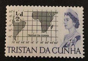 Tristan Da Cunha Scott 71 QEII Map Half Cent-Mint NH