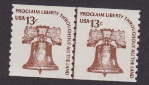 1618 Liberty Bell F-VF MNH joint line pair - shinny gum