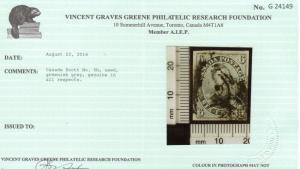 Canada #5b Used Greenish Grey Shade **With Certificate**