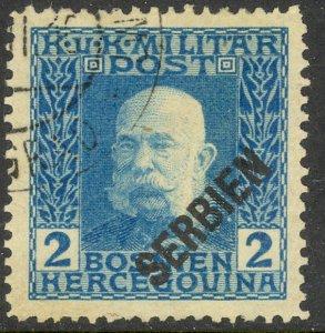 SERBIA AUSTRIA OCCUPATION 1916 2h Franz Joseph Portrait Issue Sc 1N2 VFU