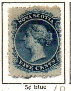 Nova Scotia Sc 10 1860 5 c blue Victoria stamp used
