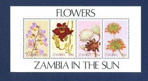 ZAMBIA - Scott 283a - FVF MNH S/S -  Flowers 1983