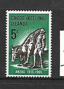 COCOS ISLANDS, 7, MNH, SIMPOSON AND HIS DONKEY