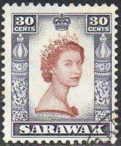 Sarawak 1957 30c QEII used