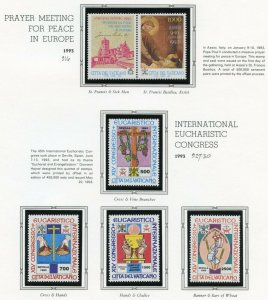 VATICAN CITY 1993  COMPLETE YEAR SET STAMPS MINT NH ON WHITE ACE ALBUM PAGES