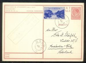 NORWAY 1939 First Flight OSLO-AMSTERDAM on Netherlands card + Norway franking