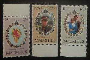 Mauritius 520-22. 1981 Royal Wedding, NH