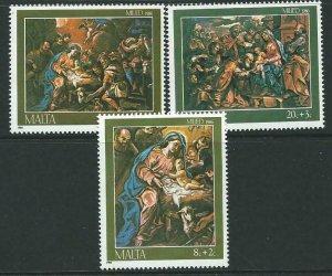 MALTA SG789/91 1986 CHRISTMAS MNH
