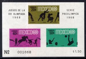 Mexico 992a Summer Olympics Souvenir Sheet MNH VF