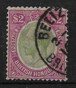 BRITISH HONDURAS SG137 1922 $2 PURPLE & GREEN USED
