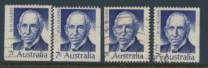 Australia  Sc# 516 William Hughes  Used x4  Booklet stamps see details