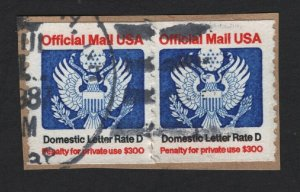 United States USED OFFICIALS - O139 COIL PAIR ON PIECE  F-VF -  BARNEYS