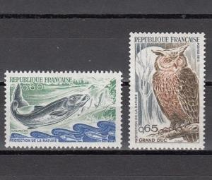 France, Scott cat. 1338-1339. Nature Protection issue. Fish & Owl shown.