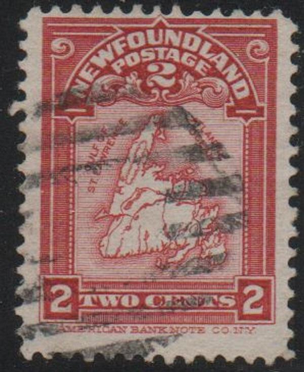 Newfoundland Sc 86 1908 2 c Map stamp used