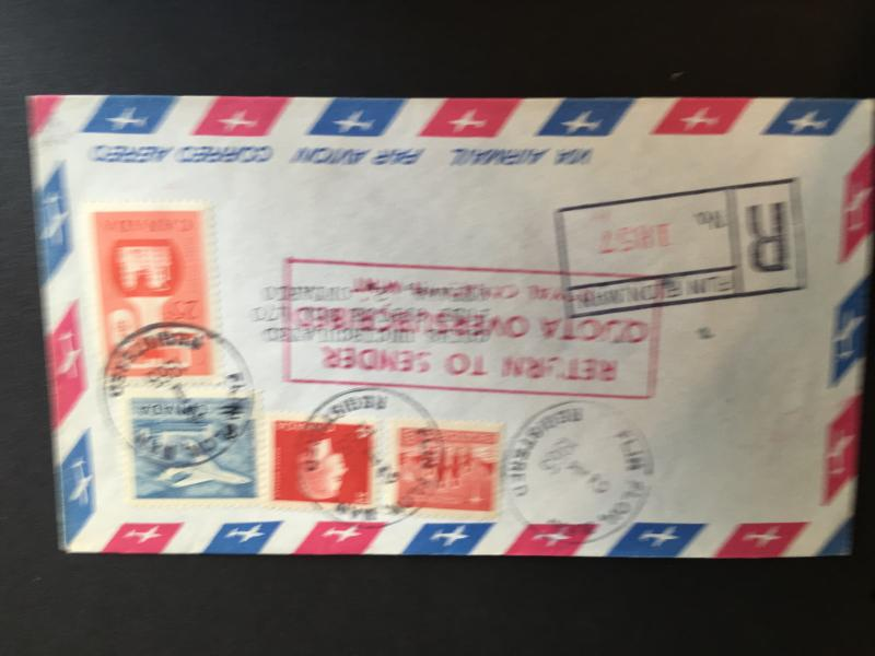 Canada 1965 Registered Airmail Cover ex Flin Flon, Man. Nice Combo to Pay Post