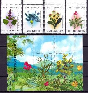 Uzbekistan. 2012. 1007-10 bl62. Flowers. MNH.