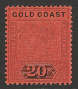 GOLD COAST 1889 QV 20/- dull mauve & black on red.