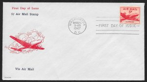 UNITED STATES FDC 5¢ Airmail 1947 Fidelity