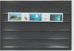 French Polynesia  Scott#  657  MNH  (1999 Strip of 3 + 2 Labels) (1995 Nature)