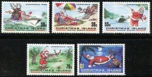 Christmas Island Scott 189-93 Unused HROG - 1986 Santa Issue Set - SCV $8.15
