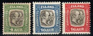 Iceland #O32, O34, O36 F-VF Unused CV $10.75 (X9661)