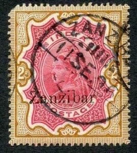 Zanzibar SG19 2r carmine and yellow-brown (corner perf missing) Cat 120 pounds