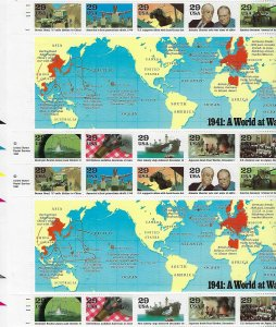 Catalog  # 2559 Sheet of 20 World War ll 1941 Europe Pacific