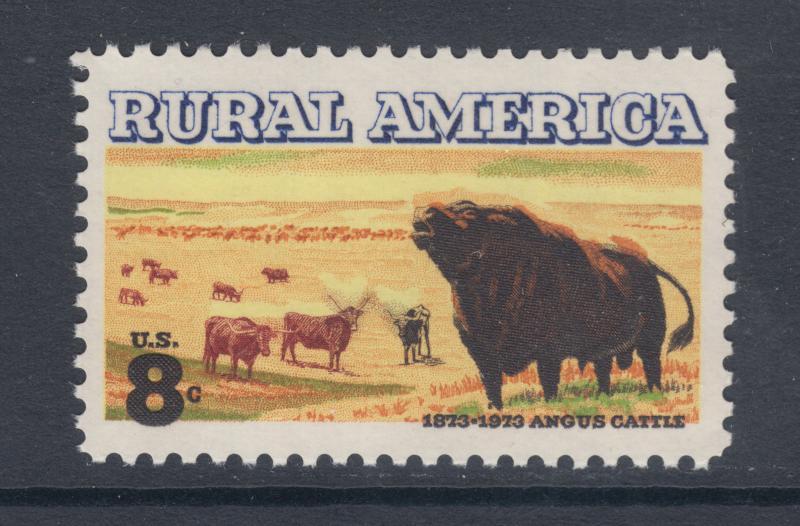 US Sc 1504 MNH. 1973-1974 8c Rural America, Black Color Shift