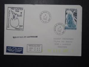 France TAAF 1988 Mid-Winter Amsterdam Mission Cover  - Z11111
