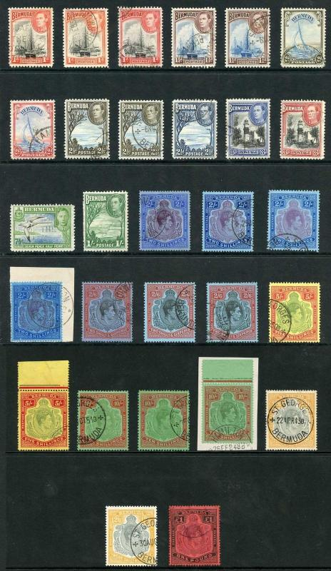 Bermuda SG110/121b KGVI set including many shades Fine Used