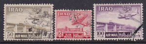 Iraq 1949 Sc C4, C7-8 Airplane Basra Airport Diyala Railway Bridge Stamp Used