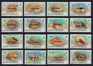 Montserrat Sea Shells 16v SPECIMEN 1988 MNH SG#757-772