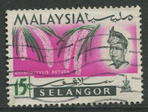 STAMP STATION PERTH Selangor #126 Sultan Salahuddin Orchid Type Used 1965