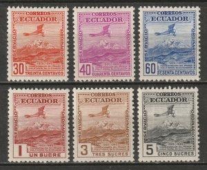Ecuador 1948 Sc 497-502 set MH*