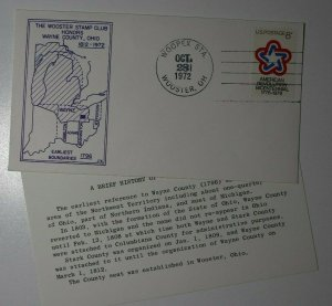 WOOPEX Sta Wooster OH Honors Philatelic Expo Cachet Cover 1972