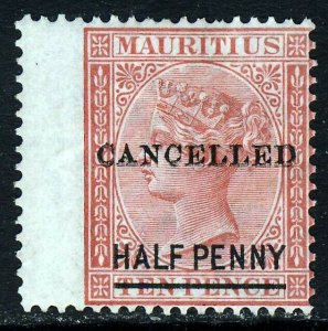 MAURITIUS 1878 CANCELLED Overprint on HALF PENNY Surcharged 10d. SG 79 MINT