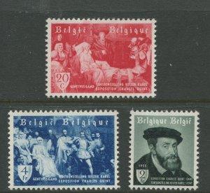 STAMP STATION PERTH Belgium #485-487 Charles V Expo 1955 MLH CV$8.00
