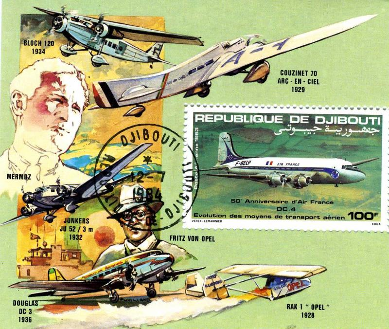 Djibouti 1983 Air France Anniversary Souvenir Sheet Perforated Canceled