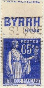 FRANCE - 1937 Pub BYRRH (virilise) supérieure sur Yv.365b 65c Paix Obl. TB