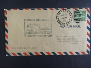 1935 New York USA Catapult Cover SS Europa to Berlin Germany