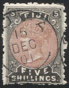 FIJI 1882 Sc 45 Used VF 5sh QV cto cancelled SUVA 15 Dec 01