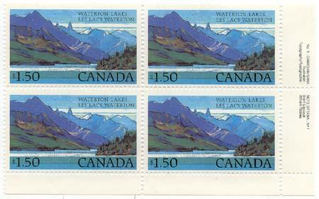 Canada - 1982 $1.50 Waterton Lakes P. Block w. Variety