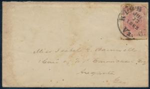 CSA #5 XF ON COVER WITH JUL 13,1862 DATE CANCEL CV $800.00++ HV6861