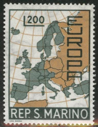 San Marino Scott 664 MNH** Europa 1967 Map stamp