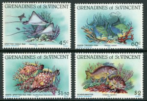 St. Vincent-Grenadines Sc 399-402 Marine Life  Spotted Eagle Ray, Queen Trigger