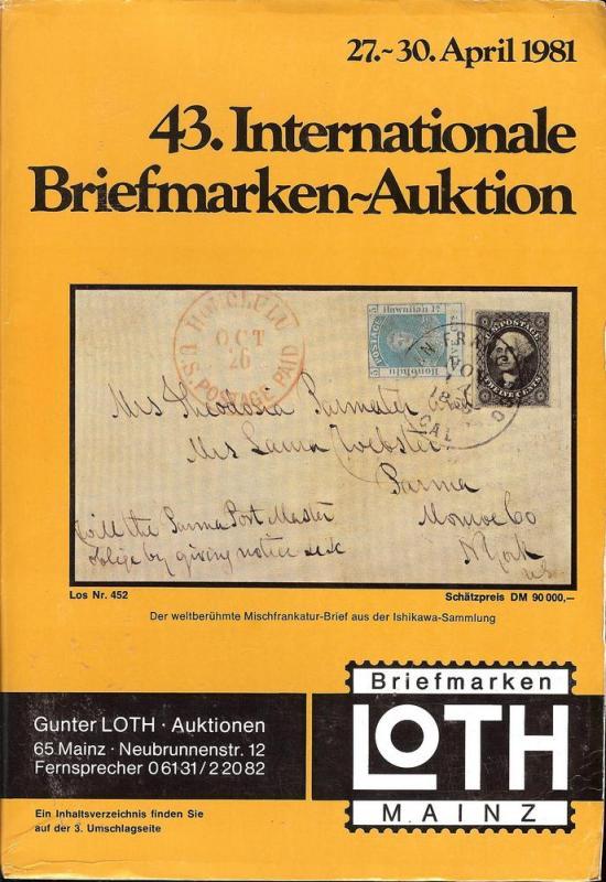 43. Loth-Briefmarken-Auktion: Internationale Briefmarkena...