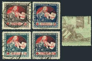 Latvia B1-B4,MNH.Michel 51z-54z. MERCY assisting Wounded Soldier,1920.