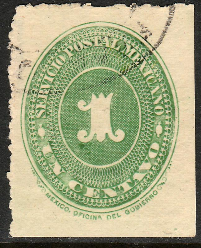 MEXICO 212, 1c LARGE NUMERAL WATERMARKED, USED. (129)