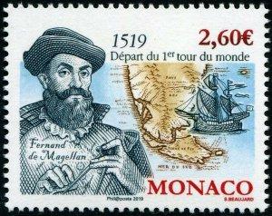 HERRICKSTAMP NEW ISSUES MONACO Sc.# 2988 500th Anniv. Magellan