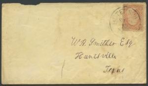 TEXAS FAYETTE COUNTY (1800's Rutersville) DPO 1839-1872